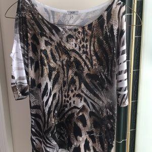 Cache leopard print cold shoulder top